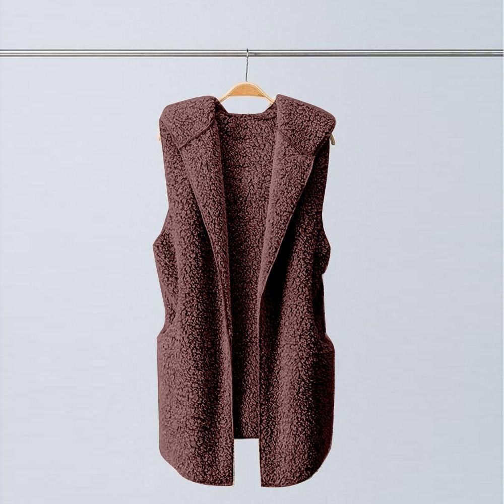 Colete feminino sem mangas com capuz, jaqueta