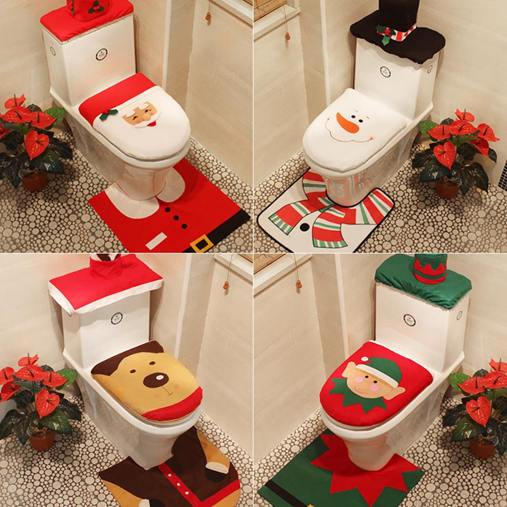 3Pcs Christmas Santa Snowman Elk Bathroom Toilet Seat Tank Cover Cap Mat Decor Set 20