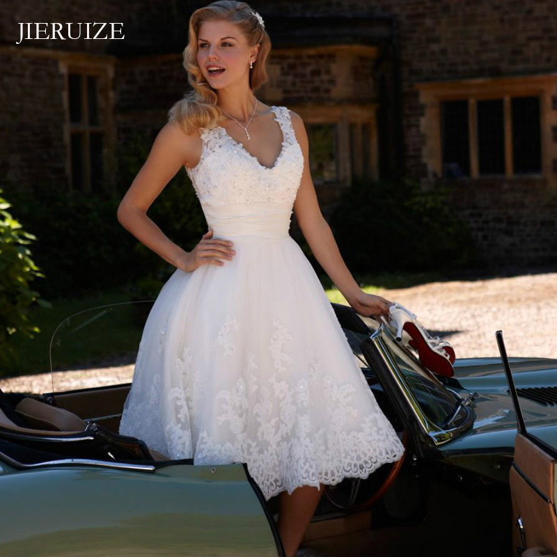 JIERUIZE White Lace Appliques Short Wedding Dresses V-neck Beaded Cheap Short Wedding Gowns Bride Dress Robe De Soiree