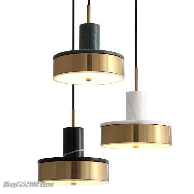 Işıklar ve Aydınlatma'ten Kolye ışıkları'de Modern kolye lamba Nordic mermer LED kolye işık yemek odası oturma odası yatak odası başucu Hanglamp ev dekor ışık Fixstures