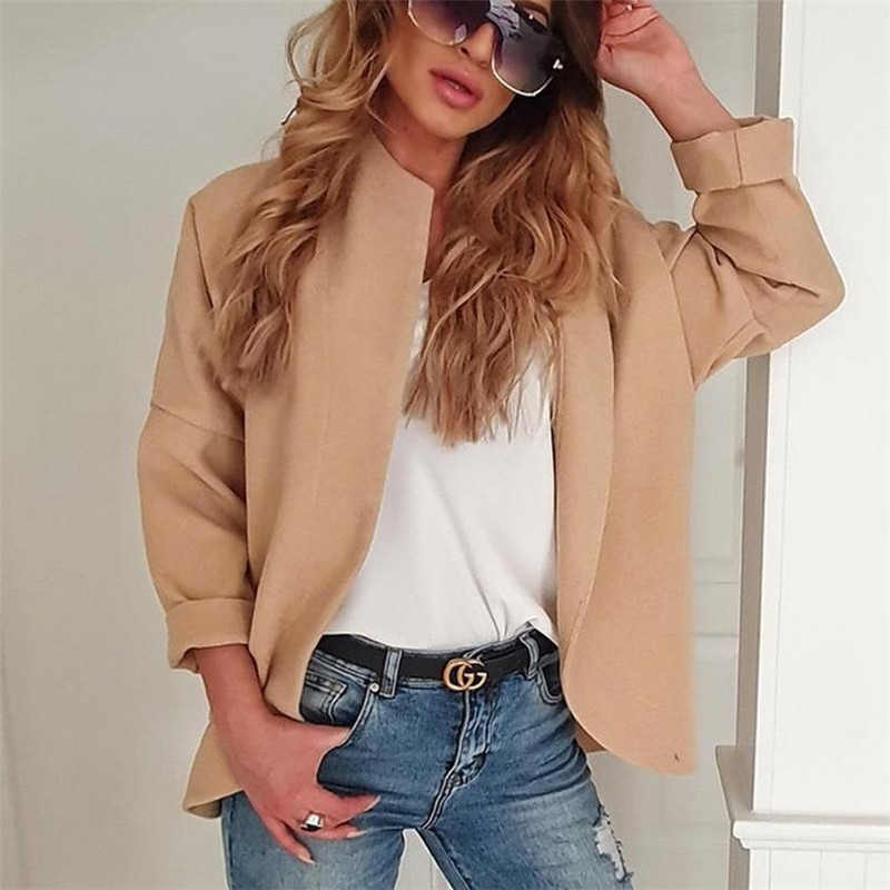 2020 Casual Womens Solid Coat Jackets Warm Clothes Loose Long Sleeve Cardigan​ Fashion Lady Autumn Outerwear All-Matching Coats