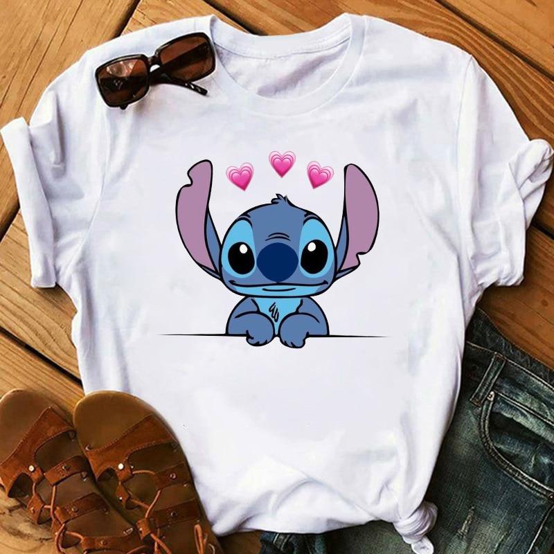 Graphic Women Cartoon Pocket Funny T-Shirt Lilo Stitch  Female Print Fashion T Shirt Casual Top