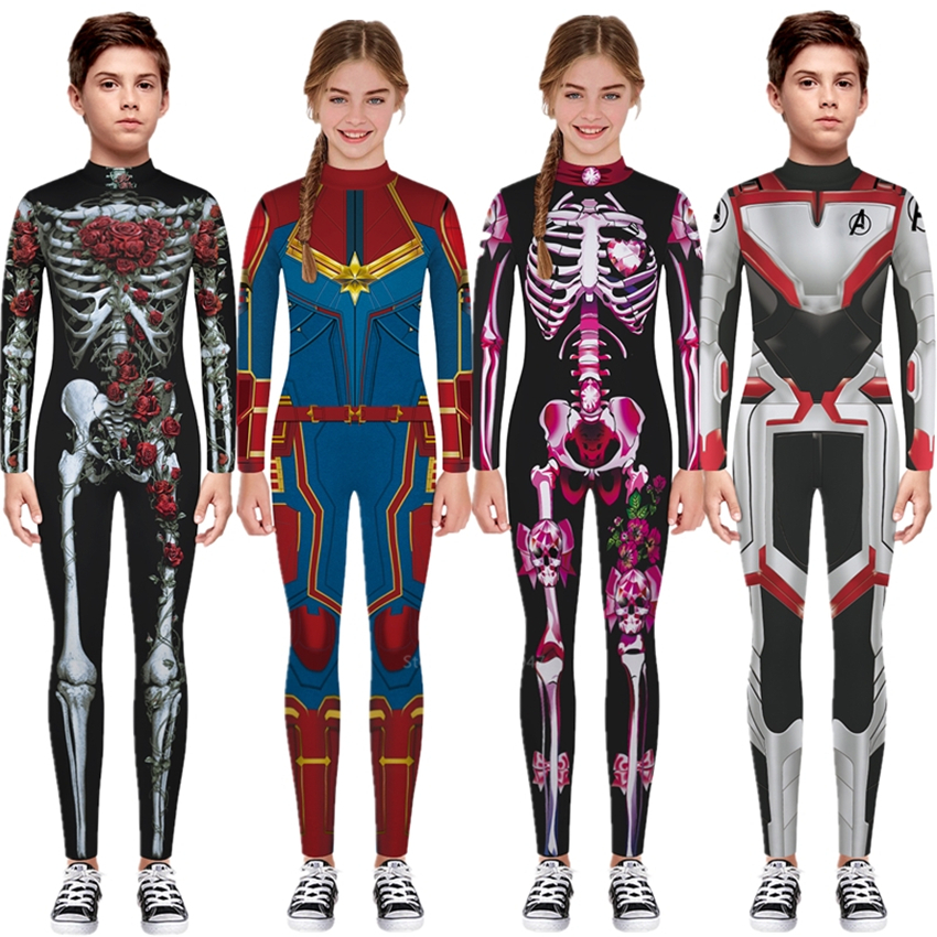 Kids Halloween16color Boy Girl Cosplay Scary Superhero Skeleton Costume Surprise Captain Spiderman Fancy Graffiti Carnival Party