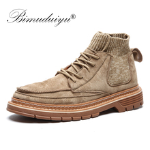 BIMUDUIYU  Autumn New Boots Men Casual Shoes High Top Male Ankle Boots Shoes Fashion Outdoor Sneakers Winter Sock Work Boots ubfen men boots high quality comfortable warm ankle boots autumn winter male youth fashion casual shoes high top cotton boots