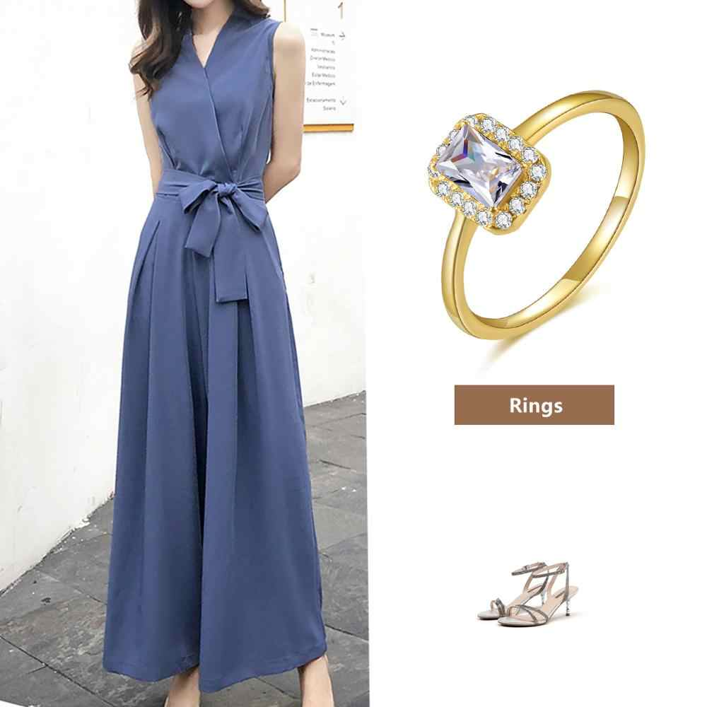 E Jewelry แหวนเงิน 925 14K Gold Plated Square สีขาว Zircon อัญมณีแหวนหมั้นสำหรับงานแต่งงานแฟชั่นผู้หญิงแหวน