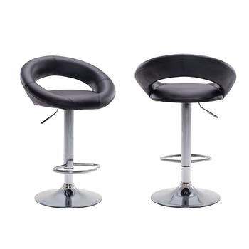 Zestaw 2 blat kuchenny stołki barowe krzesła PU home hollow design głęboki dekolt na plecach nogi metalowe stołki barowe (czarny) tanie i dobre opinie = 125mm Jadalnia meble pokojowe Minimalistyczny nowoczesny Jadalnia krzesło Meble do domu Skóra syntetyczna Nowoczesne