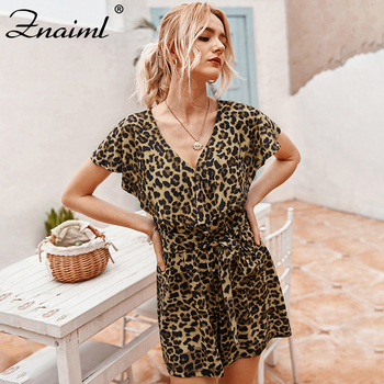 Znaiml Women's Leopard Playsuit Short Sleeve Slim Loose Rompers Short Jumpsuit Summer Leopard Fashion Party Club Shorts 2020 summer women party neon green leopard print sexy playsuit holiday mesh rompers club short sleeve bodycon jumpsuit