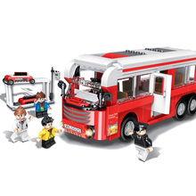 382pcs Big School Bus Car Building Blocks Sets  Bricks City Diy Playmobil Educational Toys For Children
