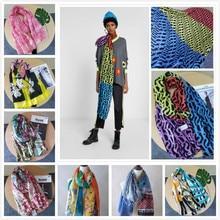 Роскошный брендовый женский летний шарф испанские дизайнерские Цветочные шали женские шарфы с принтом