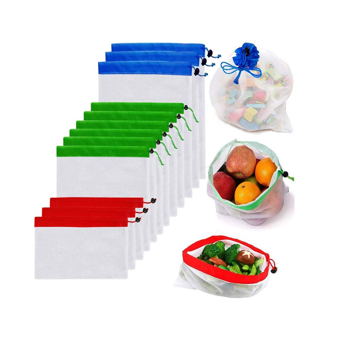 Reusable Mesh Produce Bags Premium Washable Eco Friendly Bags With Tare Weight On Tags For Grocery Shopping Storage, Fruit, Toys