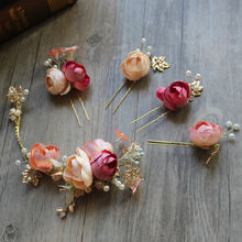 Набор заколок для волос с искусственным цветком невесты свадебные