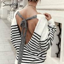 Simplee Sexy backless lace up mohair mujeres pulóver suéter otoño invierno suave mujer suéter casual tira cuello redondo señoras jumper(China)