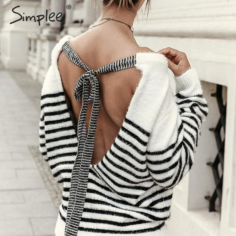 Simplee Sexy Backless Mohair Pullover Sweater Women Autumn Winter Soft Lace Up Female Sweater Casual Strip O-neck Ladies Jumper