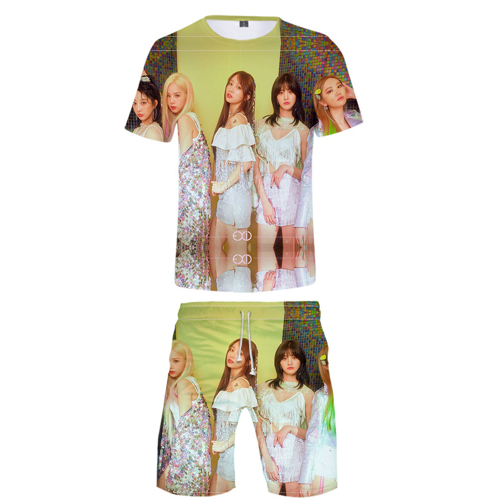 2019 Summer New Style South Korea EXID Popularity Combination Related Products 3D Printed Casual Short Sleeve Set