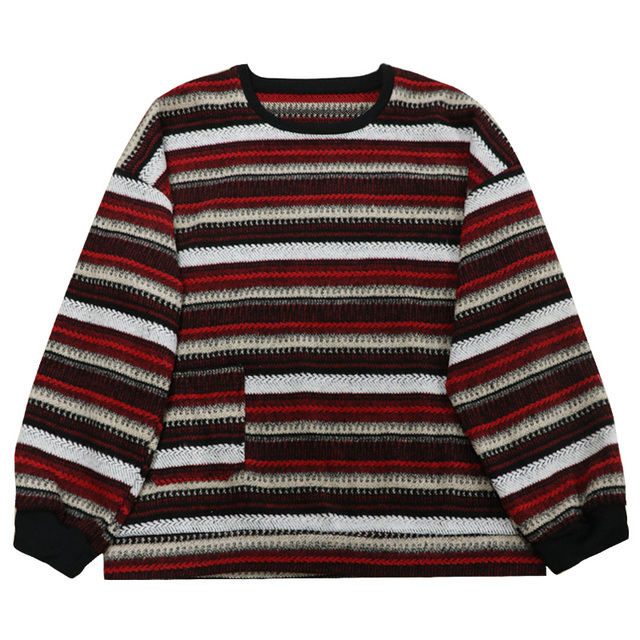 Pullovers Women Oversize Sweater Winter  Warm Ulzzang BF Unisex Couples Casual Striped Knit Sweater Hip Hop Fashion Retro Daily 6