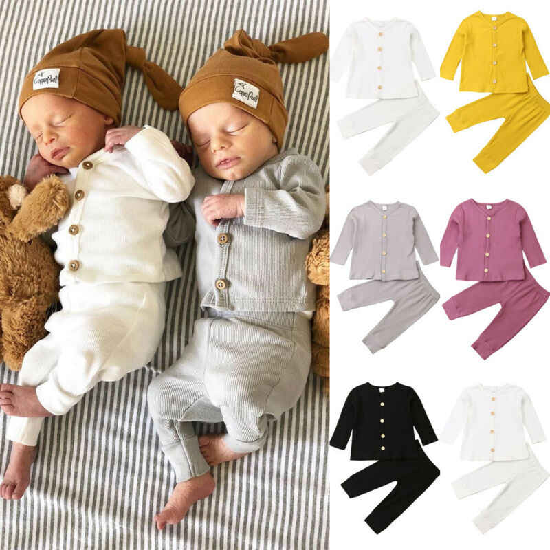 Winter Newborn Baby Boy Girl Outfits Solid Long Sleeve Ribbed Clothe Set Solid Bodysuits+Pants