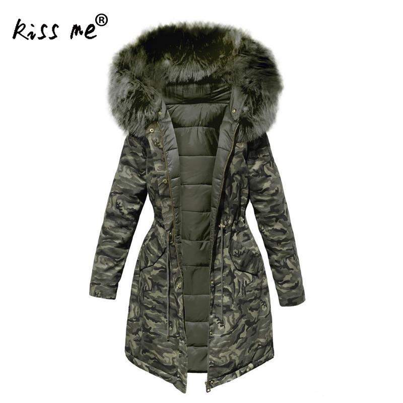 Camouflage Pattern Hooded Overcoat Winter Outdoor Down Coat Women Mid-Long Down Jacket Thermal Warm Windproof Hiking Jacket