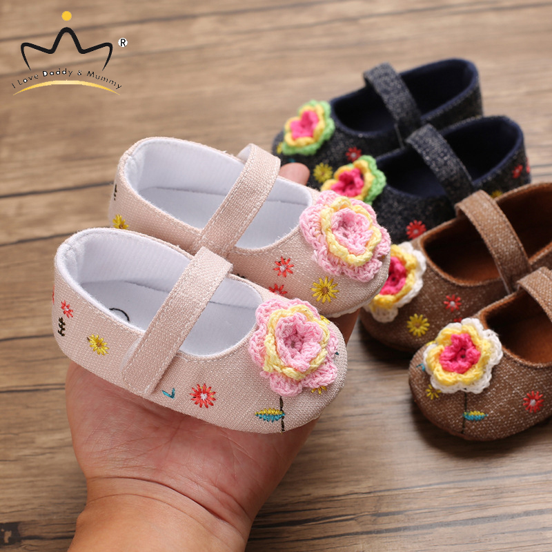 New Baby Shoes Cute Floral Baby Girl Shoes Newborn Toddler Princess Flower Girls Shoes Fisrt Walkers Spring Summer