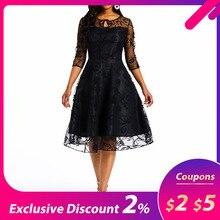 Summer Party Lace Dress Women 50s Vintage A Line Swing Elega