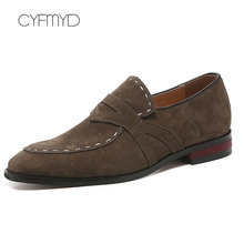 Formal Shoes Man Large Size 45-48 Pig Suede Cozy Office Men Leather Solid Rubber Loafers Dress