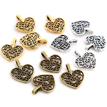 30pcs Charms hollow lovely heart 16x14mm Antique Making pendant fit,Vintage Tibetan Silver Plated Bronze,DIY bracelet necklace pure 24k yellow gold pendant 3d craved hollow heart bracelet pendant 1g