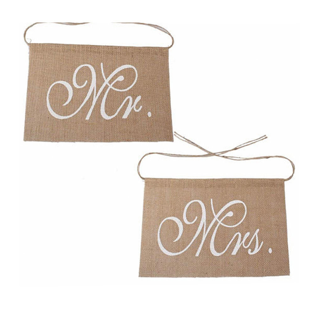 2pcs/set Linen Flag Reception Rustic Wedding Vintage Props Party Anniversary Mr And Mrs Pennant Sign Decoration Chair Banner