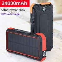 Портативный 24000mAh солнечный банк силы двойной USB внешний поликристаллические солнечные батареи 18W быстрое зарядное устройство банк силы для...