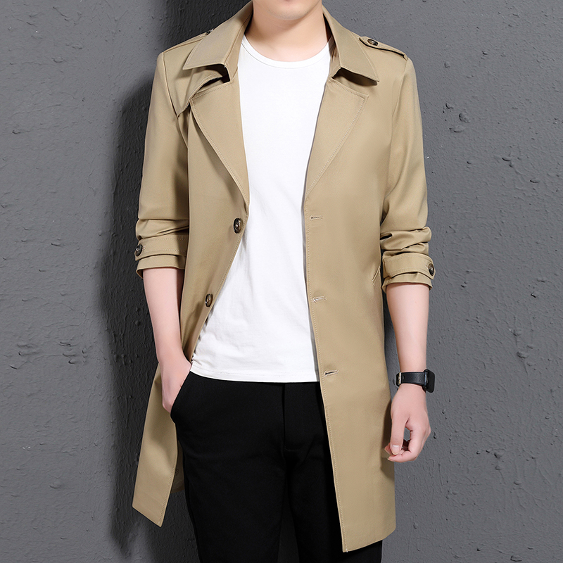 Мужской Тренч, мужское длинное пальто, повседневное, весна осень, длинное тонкое пальто, ветровка, куртки для мужчин, зимний Тренч, пальто дл...