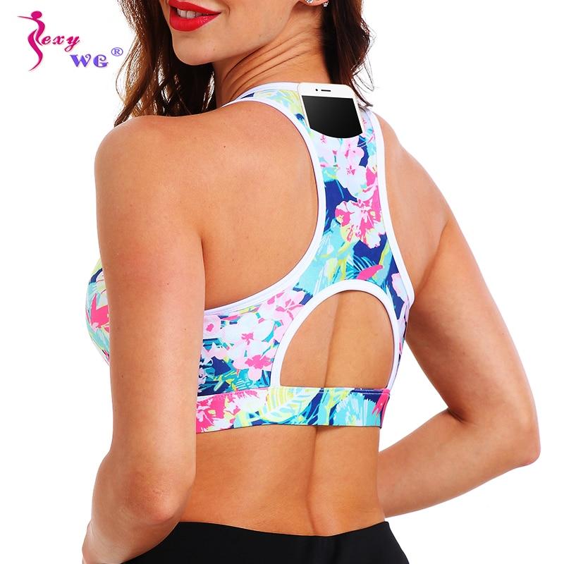 SEXYWG Sport Top Yoga Bh mit Telefon Tasche Frauen Floral Push Up Büstenhalter BH Unterwäsche Crop Lauf Weste Sport Bhs sportswear