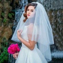 Moda véu branco curto tule noiva véus artesanal acessórios festa de casamento 0.75 metro 2019 barato véu de noiva marfim com pente
