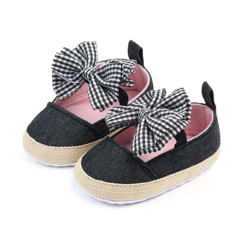 Children Summer Shoes Newborn Infant Baby Girl Boy Soft Crib Shoes Infants Anti-slip Sneaker Striped Bow Prewalker 0-18M