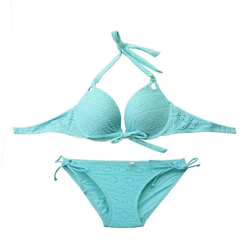 Women Swimsuit Secret Bikinis Set Push Up Lace Swim Suit Biquini Sexy Bikini Underwire Beachwear Blue Mesh Swimwear