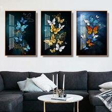Moderno e minimalista cartaz azul borboleta imagem na lona pintura da parede mural decoração para a decoração c