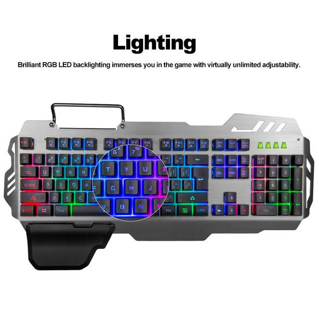 PK-900 104 Keys USB Wired Backlit Mechanical-Handfeel Backlight Gaming Keyboard for Gamer Computer PC Laptop 5