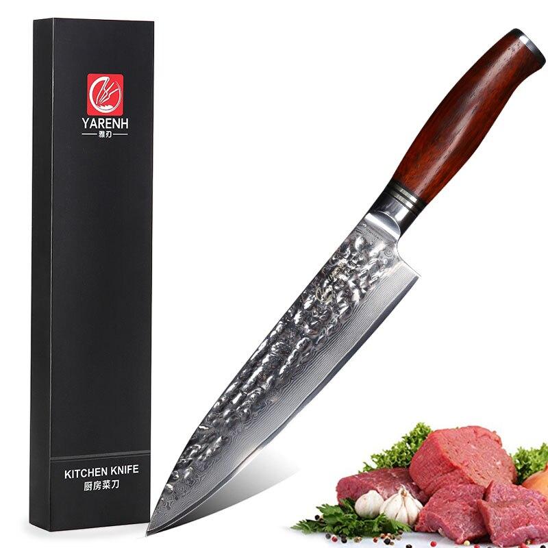 Ev ve Bahçe'ten Mutfak Bıçakları'de YARENH 8 inç şef bıçağı Paslanmaz Çelik Oyma Bıçakları profesyonel Yüksek Karbon VG10 Japon 73 katman Şam Mutfak Bıçakları'da  Grup 1