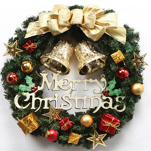 Image 2 - 30cm Christmas Wreath Door Hanging Christmas Decorations Simulation Flowers Window Props Background Christmas Tree Accessories