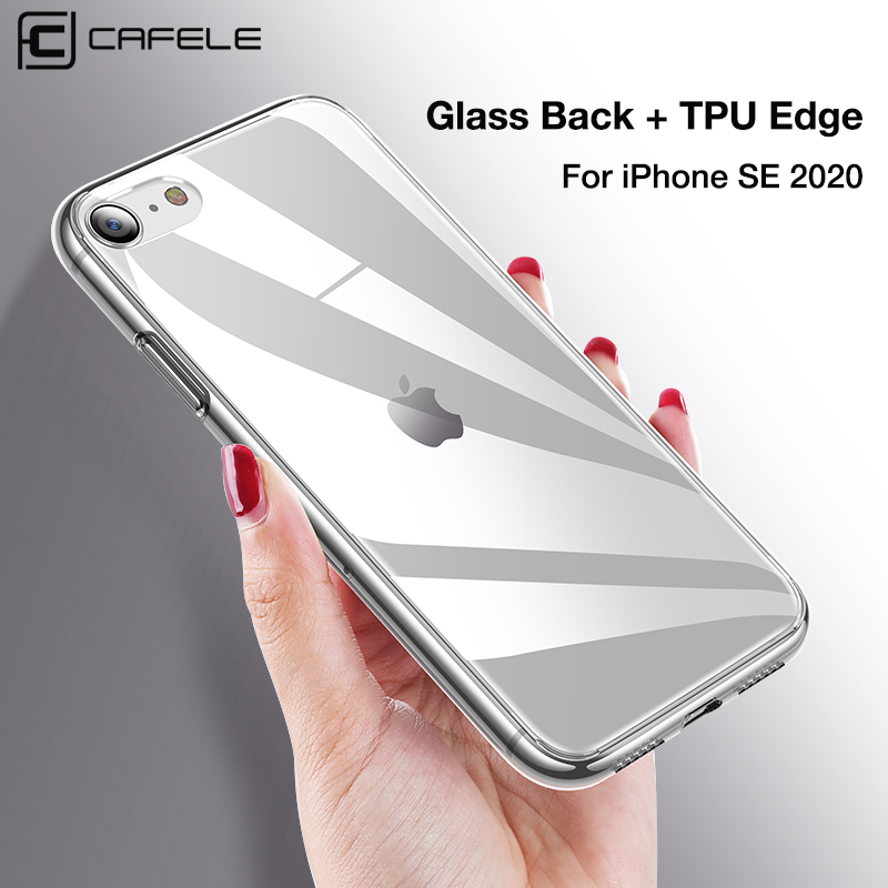CAFELE Tempered Glass Phone Case for iPhone SE 2020 Soft TPU Edge with Glass Back Case For iPhone SE 4.7 Transparent Cover Cases