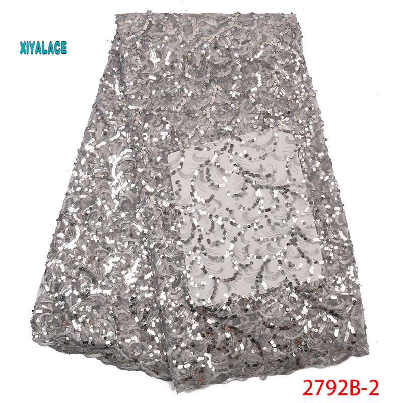 Silver Nigerian Net Laces Fabric Bridal 2019 High Quality French Tulle African Lace Fabric Sequins Lace Fabric YA2792B-2