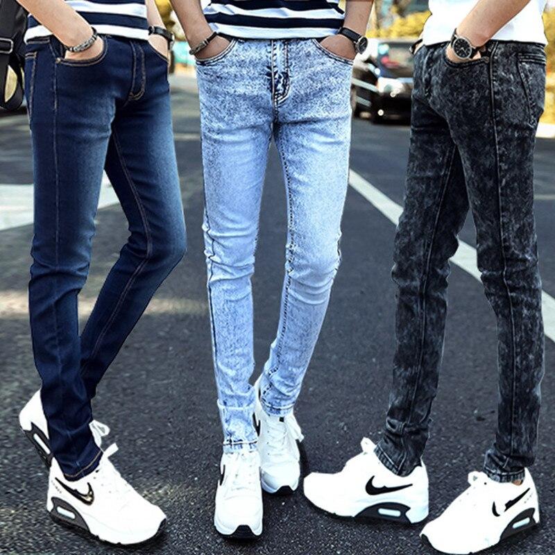 Youth Elasticity Men Black Snowflake Jeans MEN'S Light Blue Slim Fit Skinny Pants Korean-style BOY'S Long Pants Fashion