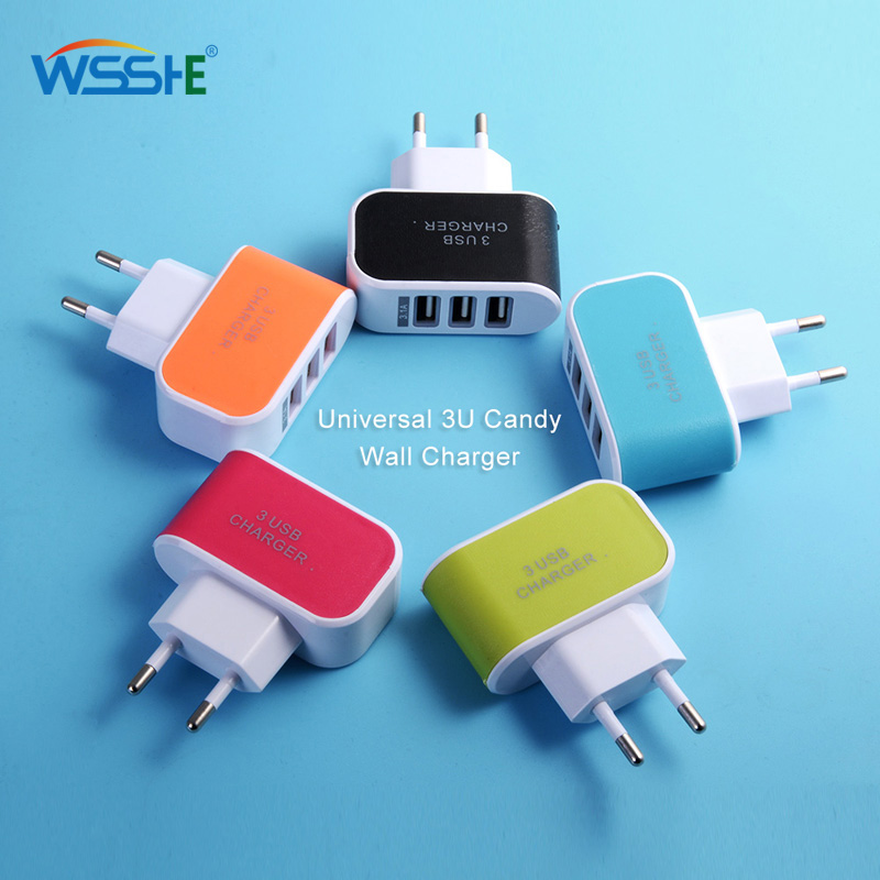 Сетевое зарядное устройство 5 В, 2 А с 3 портами USB, адаптер для путешествий для iPhone, iPad, Xiaomi, мобильный телефон, зарядка ЕС для Samsung, Huawei