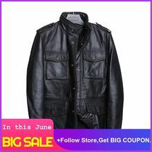 2020 Vintage Black Men Safari Leather Jacket Four Pockets Plus Size XXXXL Genuine Thick Cowhide Russian Autumn Leather Coat недорого