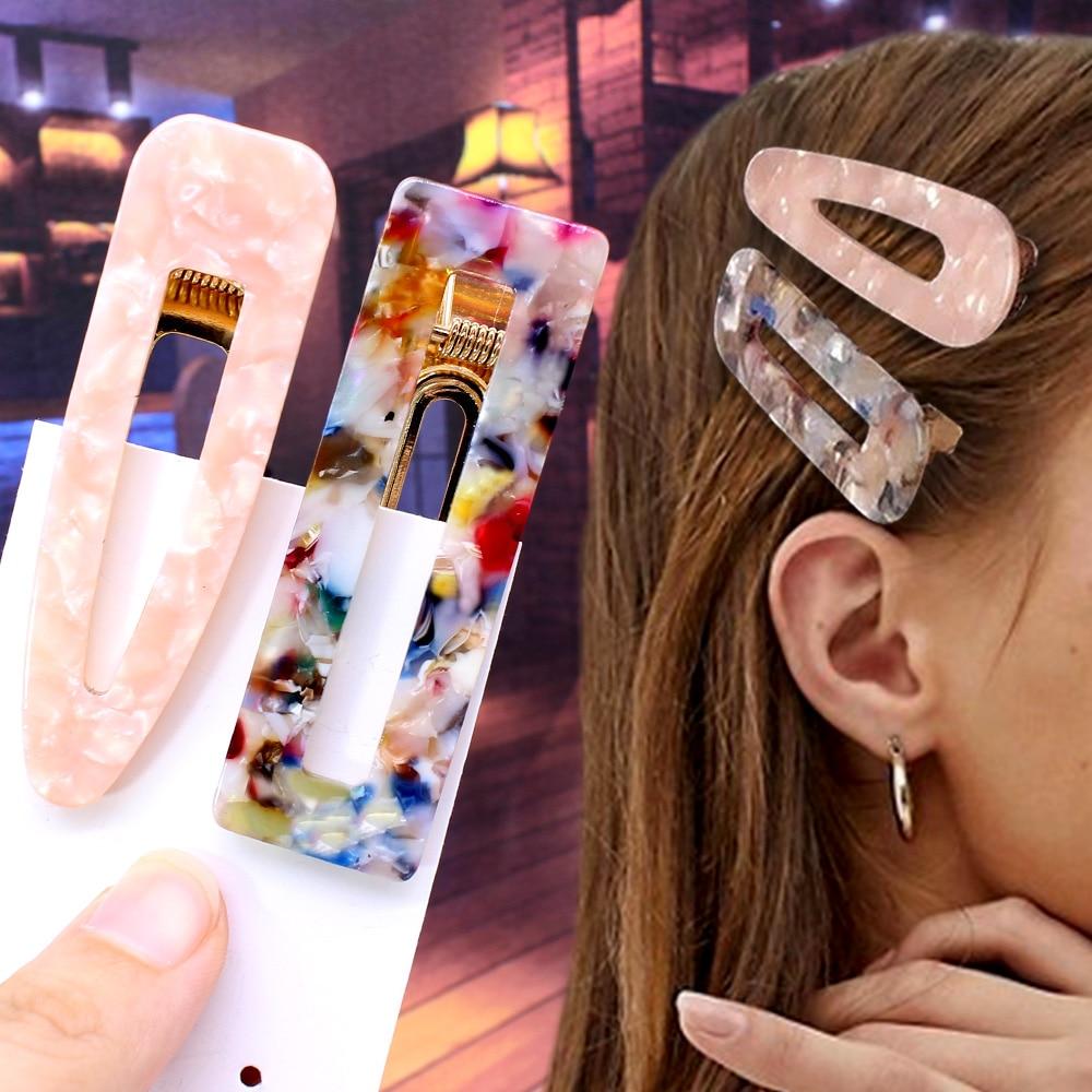 2PCS/lot Women Girls Acrylic Square Drop Strip Barrettes Rectangle Hair Clips Tin Foil Sequins Hairpin Headband Hair Accessories
