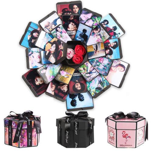 NEW Hexagon Surprise Explosion Box DIY Scrapbook Photo Album For Valentine Wedding Gift Boxes