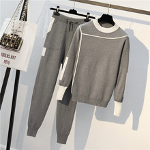 Fashion Autumn Winter Women Knitted Tracksuit Two-piece Suite Long Sleeve Sweater Pullover Set Elastic Waist Trousers Suit