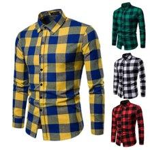 Мужчины% 27 клетка длинный рукав рубашки бизнес платье рубашка топы Slim Fit формальный рубашки