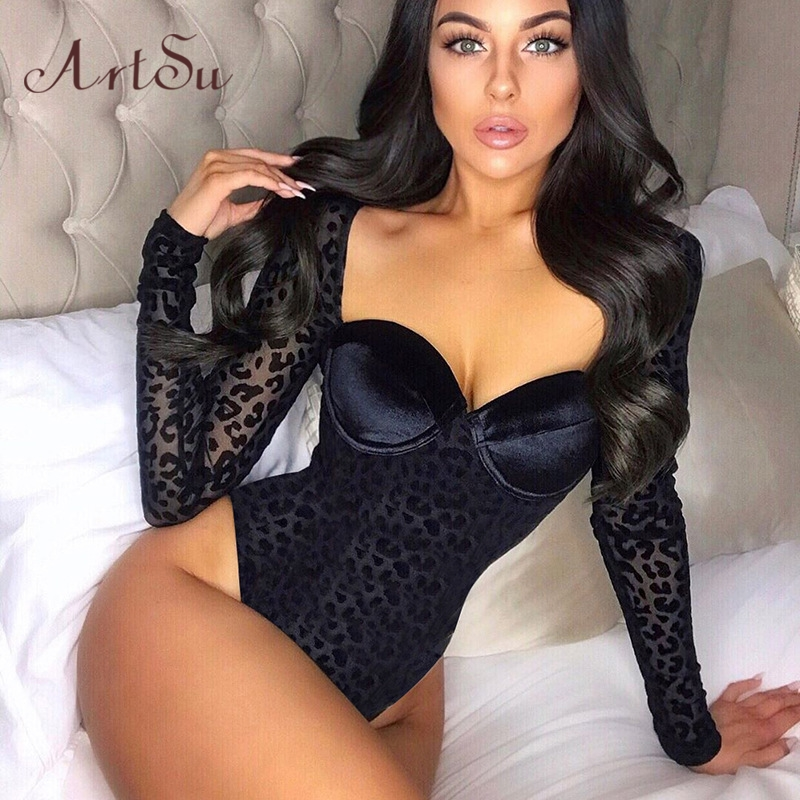 Artsu Velvet Body Transparent Leopard Mesh Sexy Bodysuit Women V Neck Long Sleeve Party Skinny Bodysuits Clothes ASDR70164