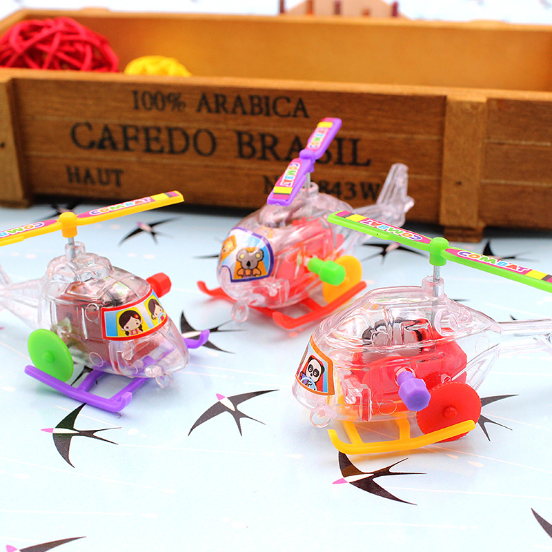 New Style Winding Spring Transparent Small Aircraft Plastic Helicopter Sliding With Propeller Rotatable Toy