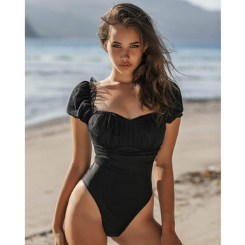 Spitze Badeanzug Frauen Bademode Push-Up Schwarz Monokini  1