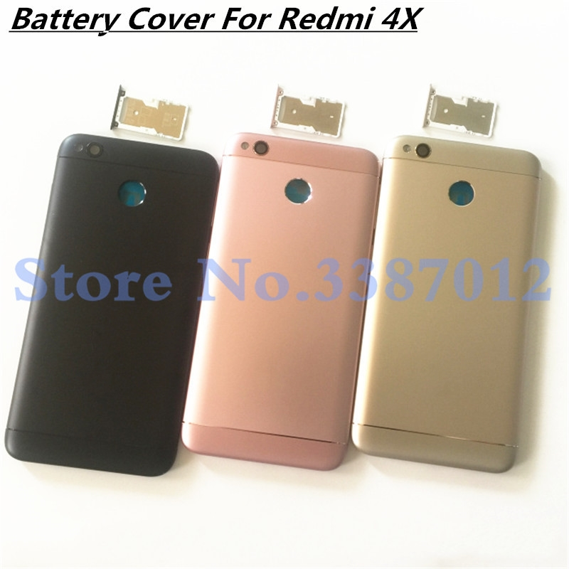 New For Xiaomi Redmi 4X Battery cover Spare Parts Back Battery Cover Door Housing+Side Buttons+Camera Lens Replacement title=