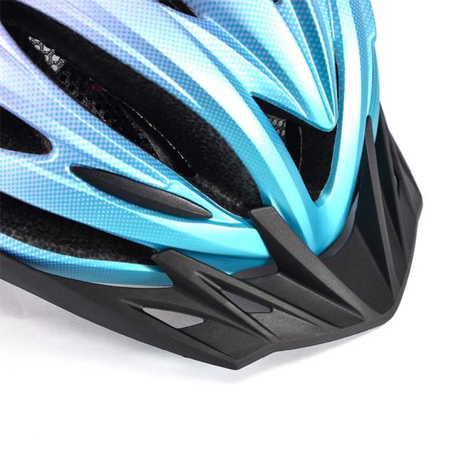 Bicicleta de montanha capacete com luz led vermelho e viseira de sol das mulheres dos homens leve estrada ciclismo capacete da bicicleta esportes equipamentos 4